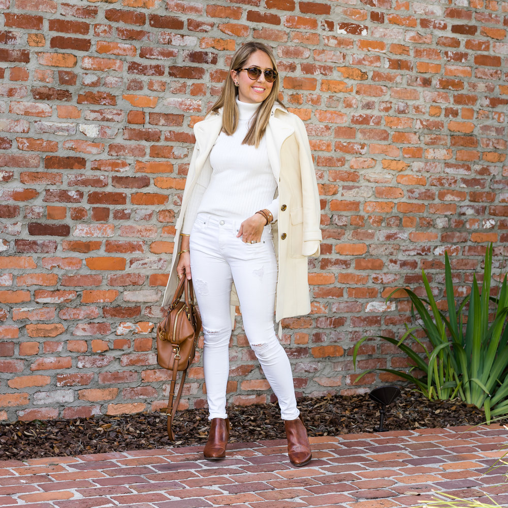 Ivory coat, sweater and jeans