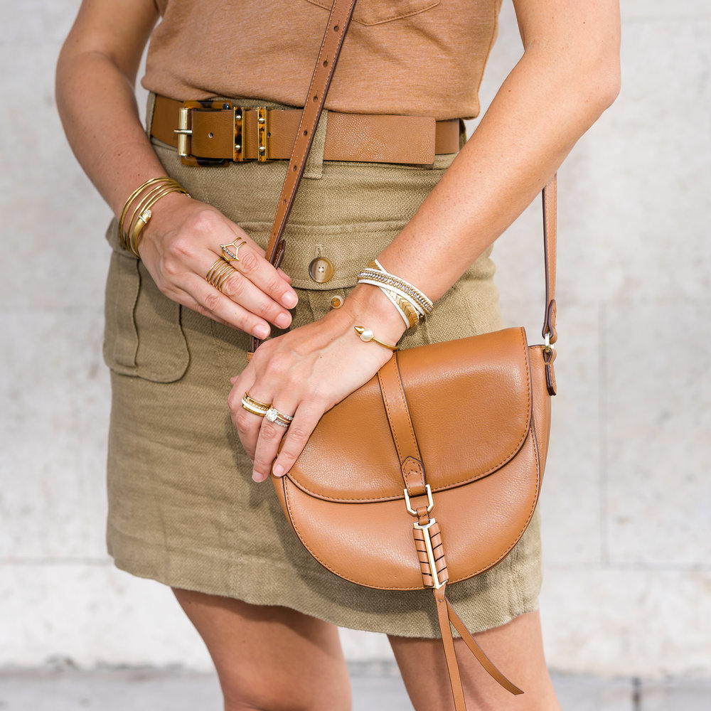 Cargo skirt, Stella & Dot Covet cognac purse