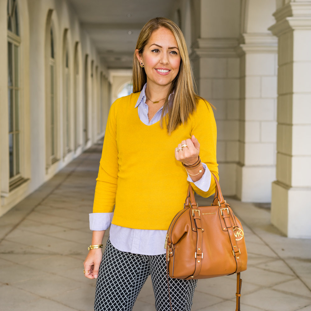 Mustard sweater, oxford top, printed pants