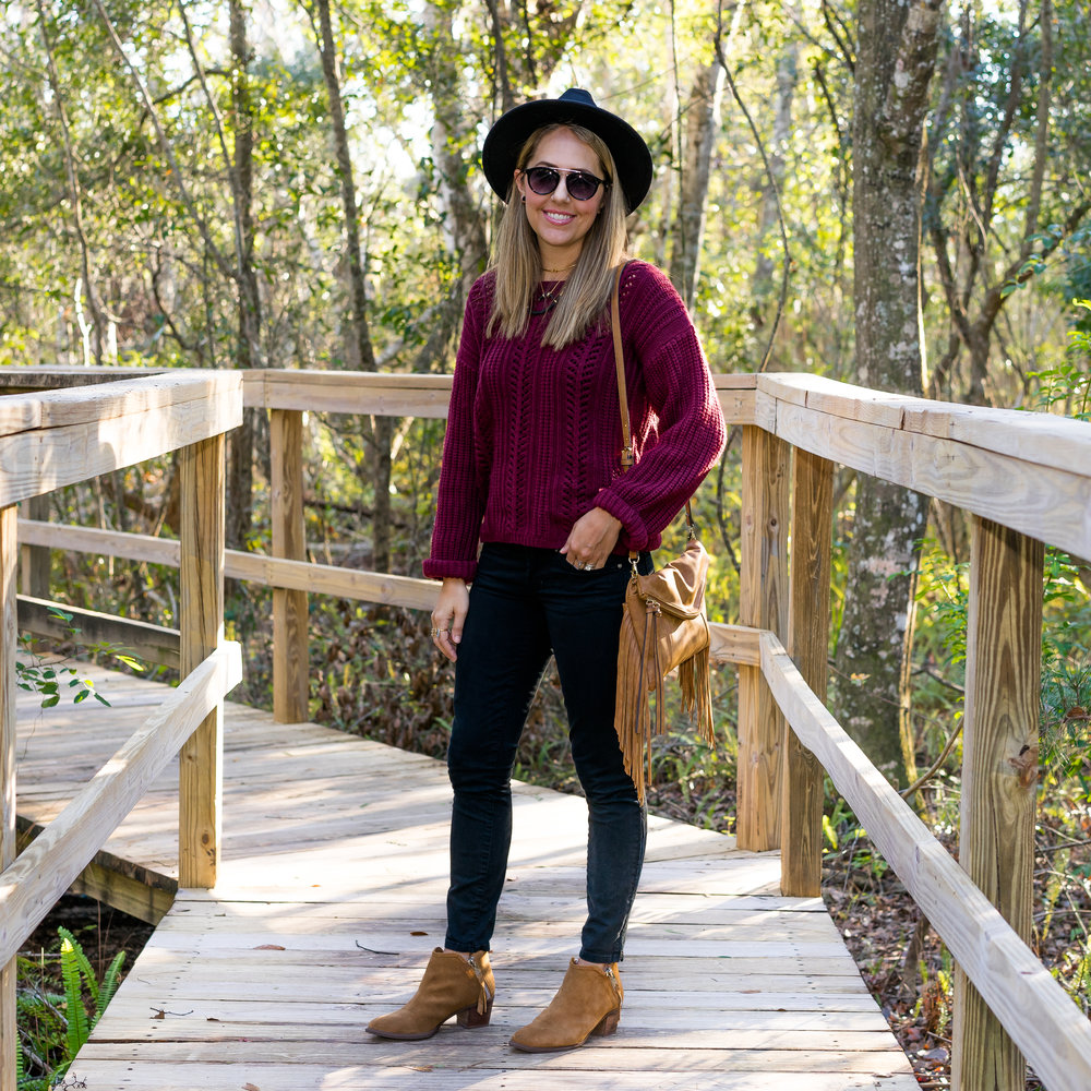 Burgundy sweater, black jeans, cognac boots