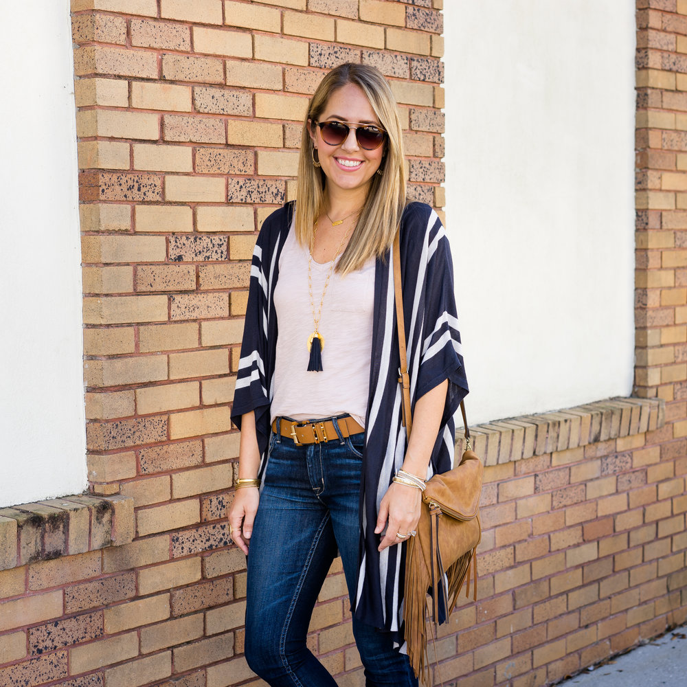 Stripe cardigan, navy tassel necklace