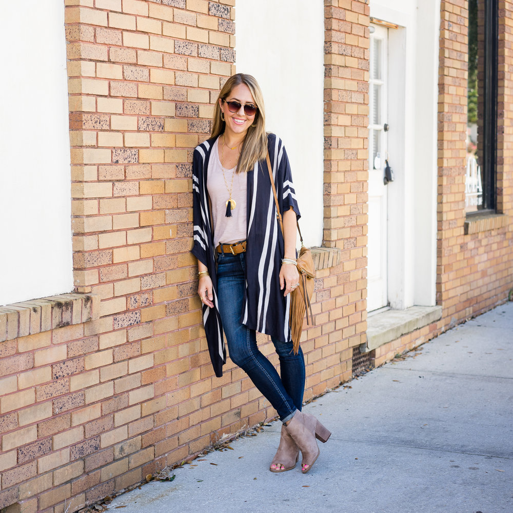 Stripe cardigan, navy tassel necklace, suede booties