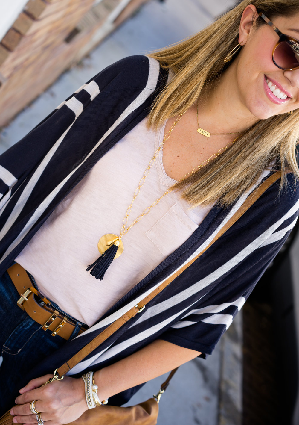 Stripe cardigan, Stella Dot Carla necklace