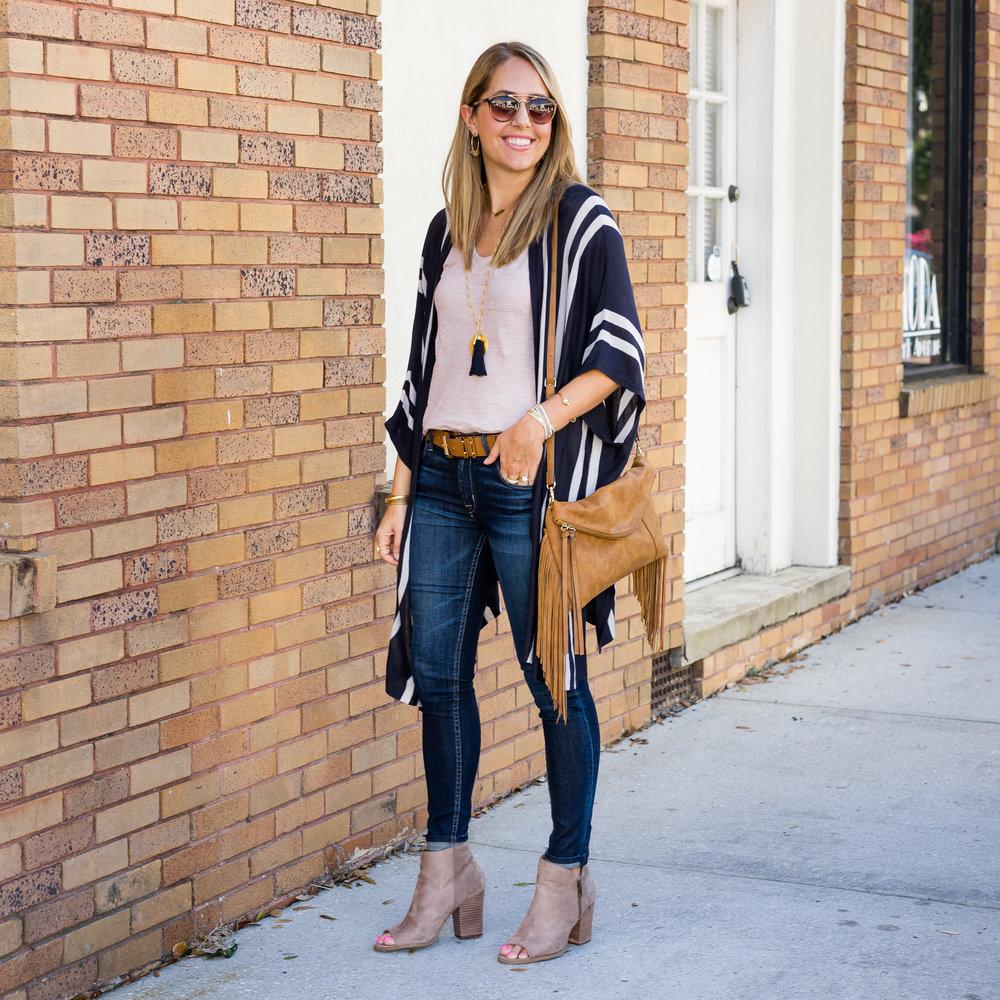 Stripe cardigan, navy tassel necklace, suede booties