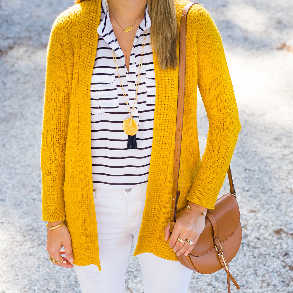 Mustard cardigan, navy stripes, white jeans, Stella & Dot Carla tassel necklace