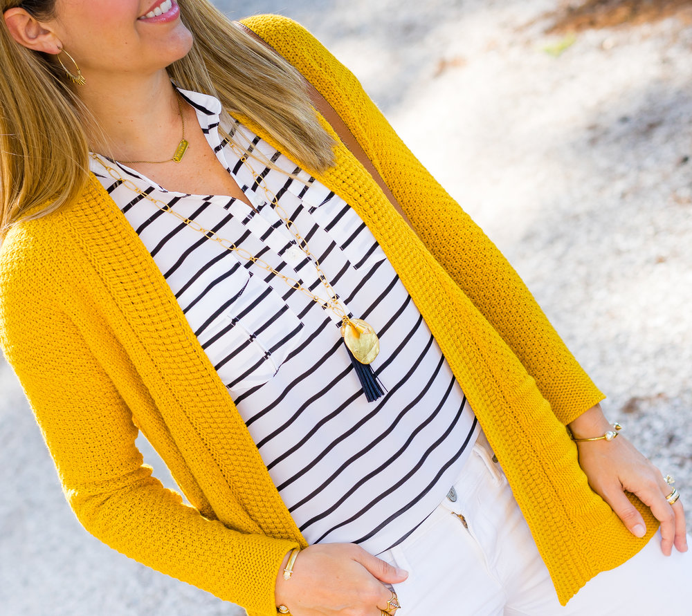 Mustard cardigan, navy stripes, Carla tassel necklace