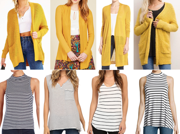 Yellow cardigans and stripes on a budget