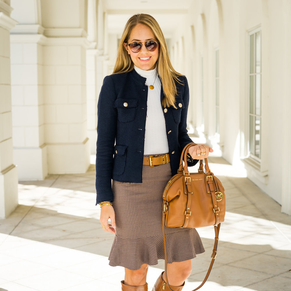 Navy jacket, turtleneck, flounce skirt