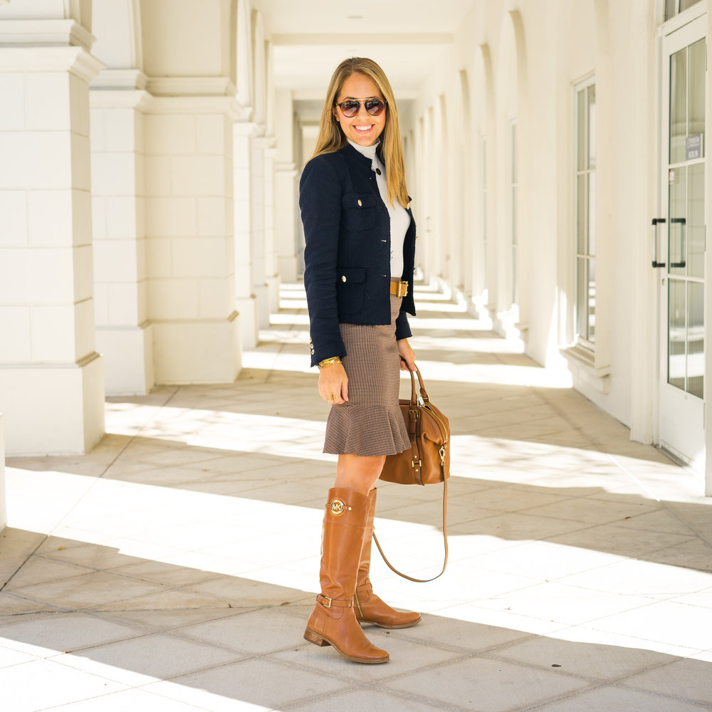Riding boots, flounce pencil skirt
