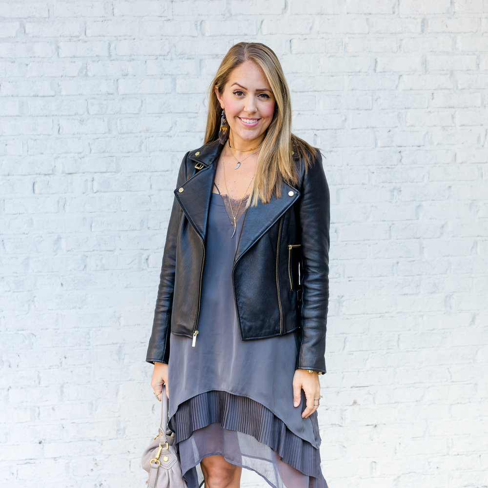 Leather jacket, slip dress