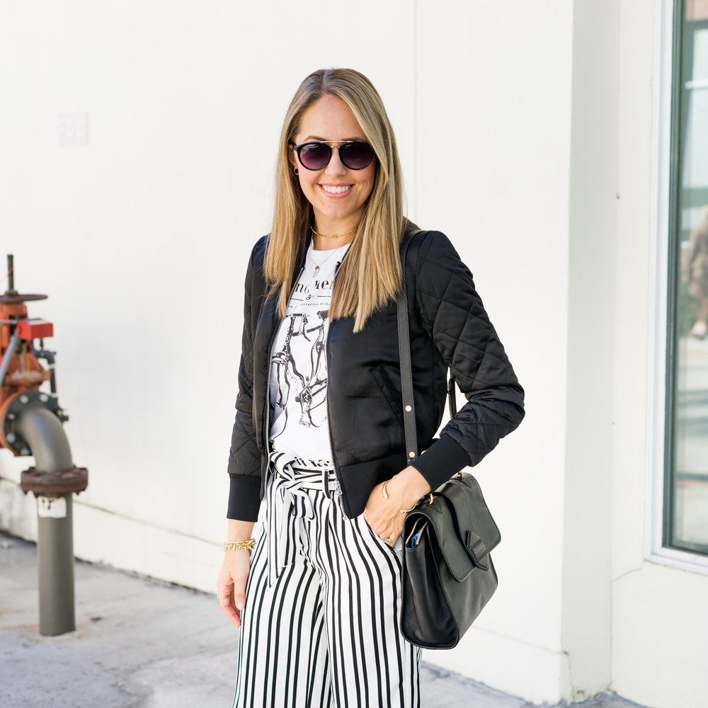 Bomber jacket, graphic tee, stripe pants