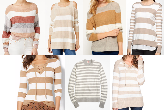 Neutral stripe sweaters on a budget