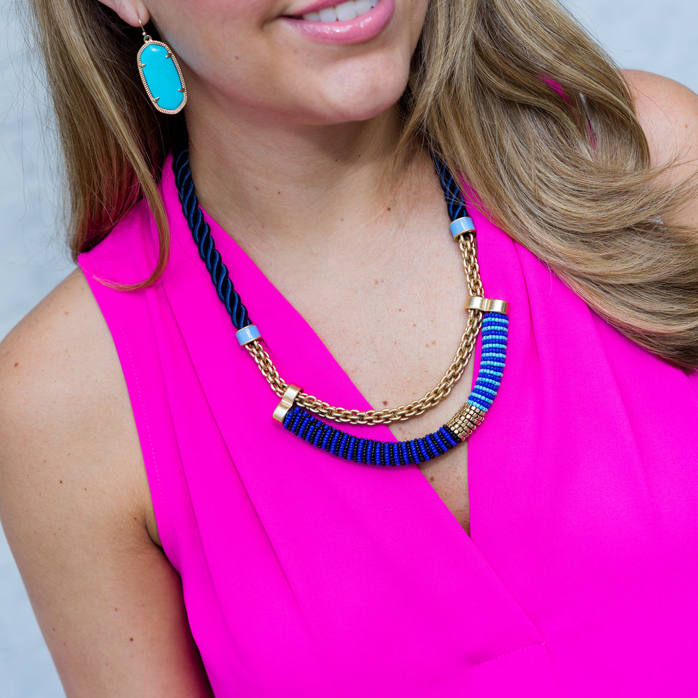 Hot pink top, Kendra Scott earrings, Stella & Dot marine collar