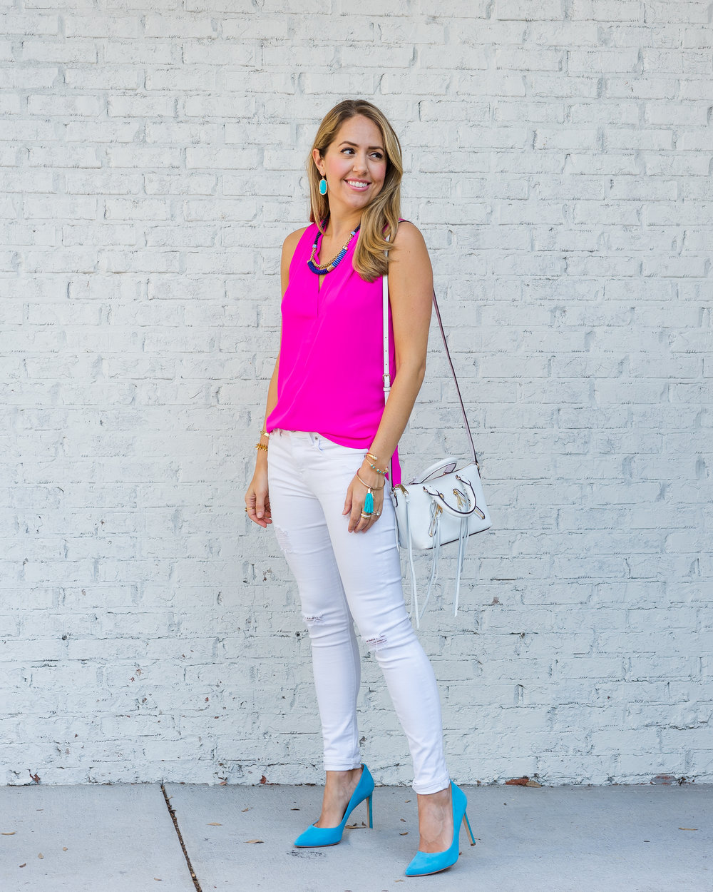 Hot pink top, white jeans, electric blue heels