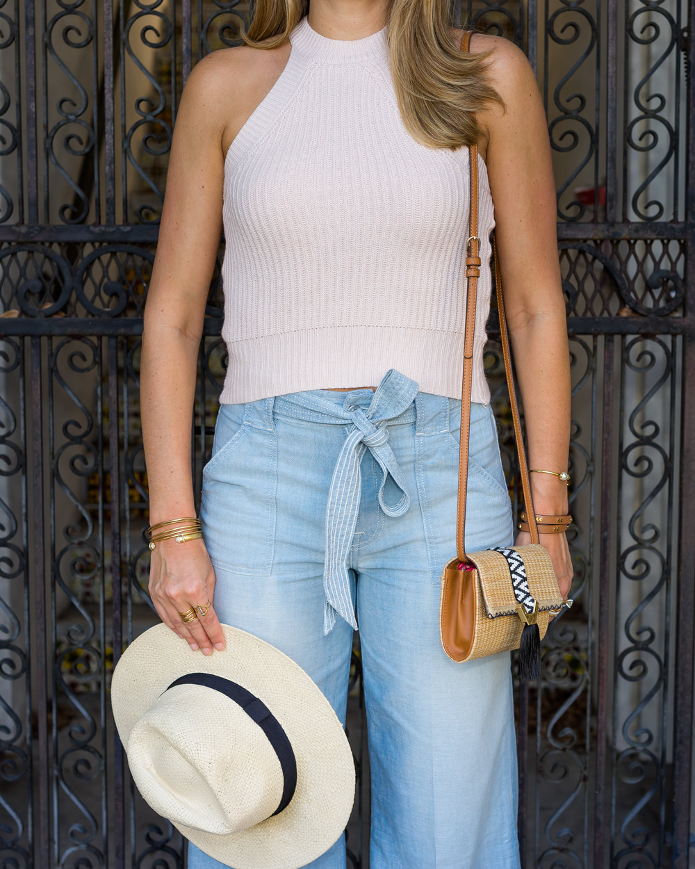 Halter sweater, tie waist pants, panama hat