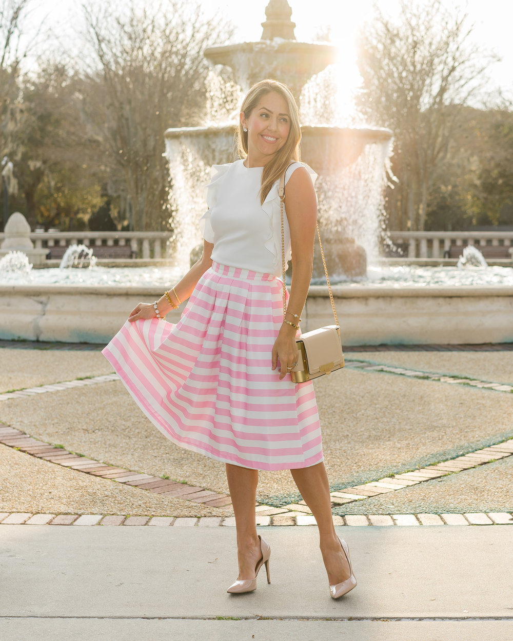 Pink stripe full skirt, white ruffle top