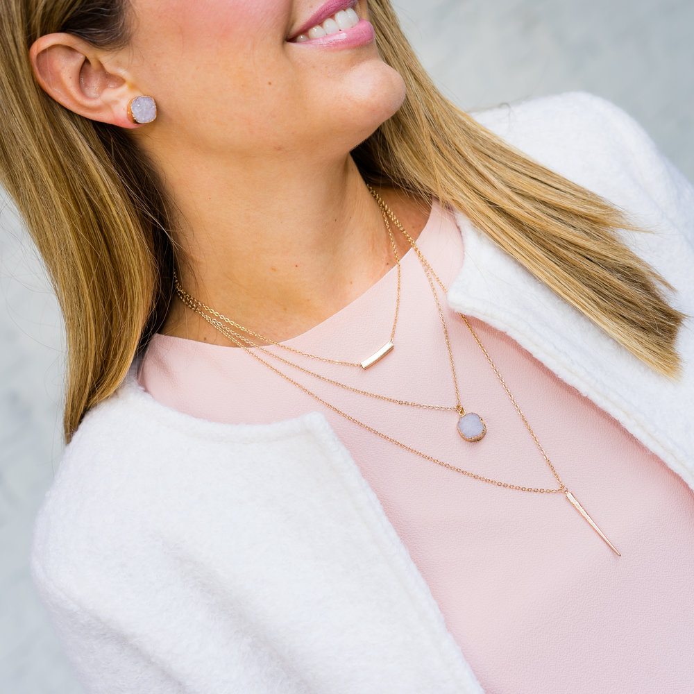 Blush pink top, INPINK jewelry