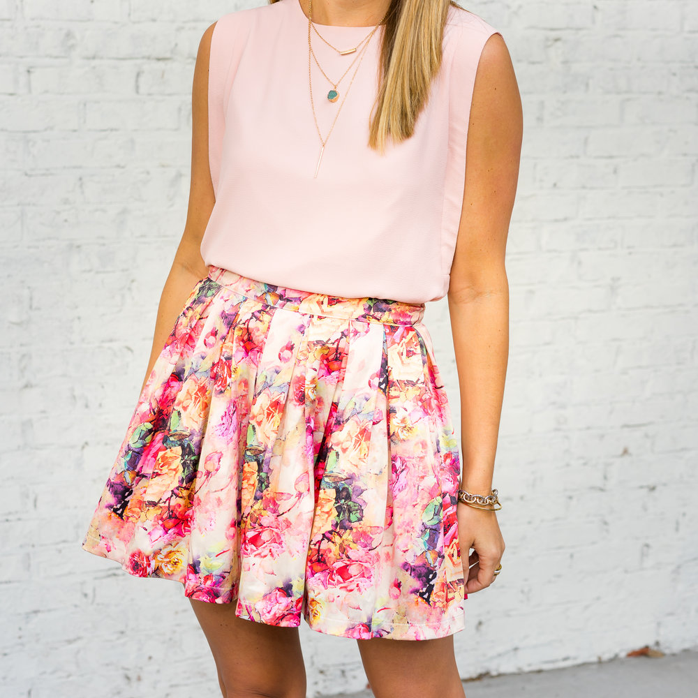 INPINK necklace, blush top, floral skirt