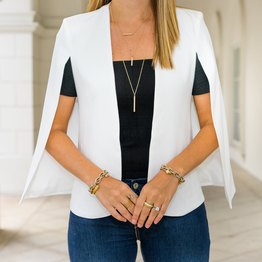 White cape blazer, INPINK jewelry