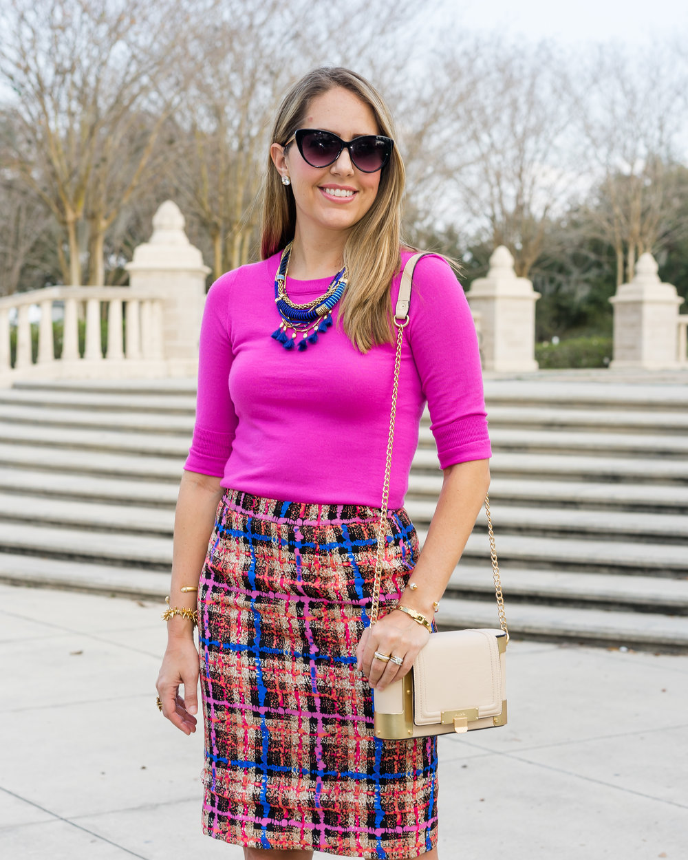 Pink sweater, pencil skirt, cobalt necklace