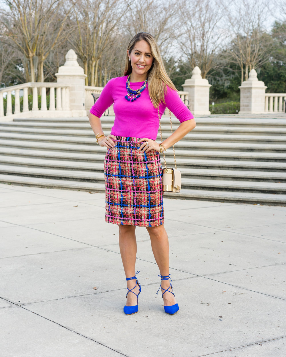 Pink sweater, pencil skirt, cobalt shoes