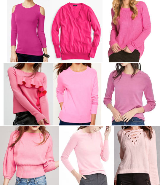 Pink sweaters on a budget