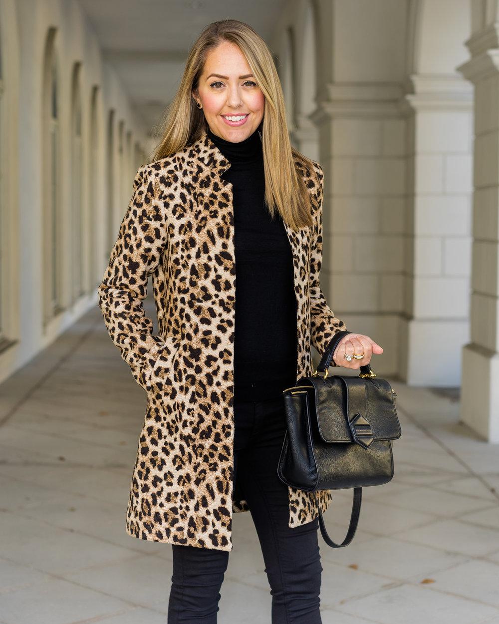 Leopard coat, black turtleneck