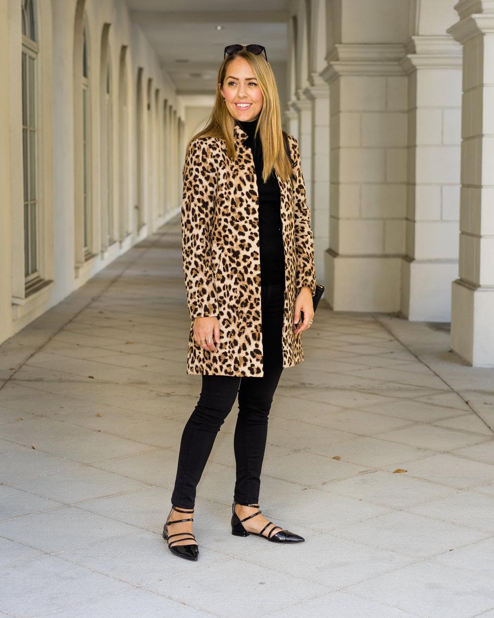 Leopard coat, black turtleneck, black flats