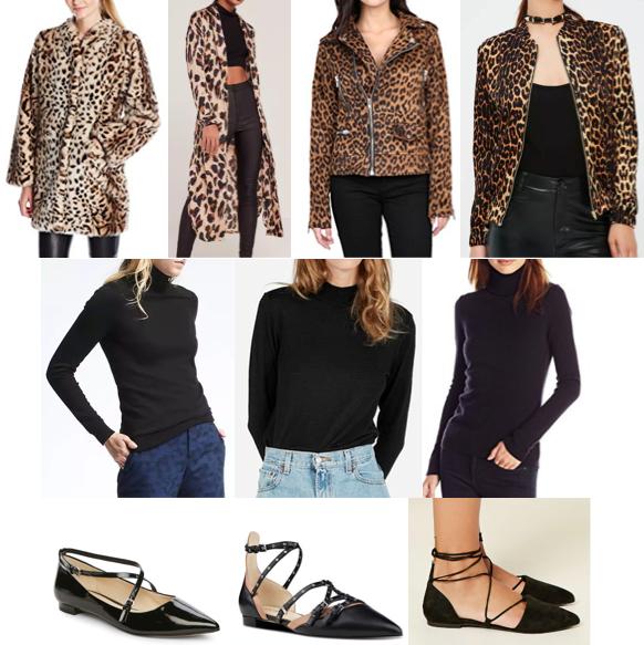 Leopard coat, black turtleneck, strappy flats on a budget