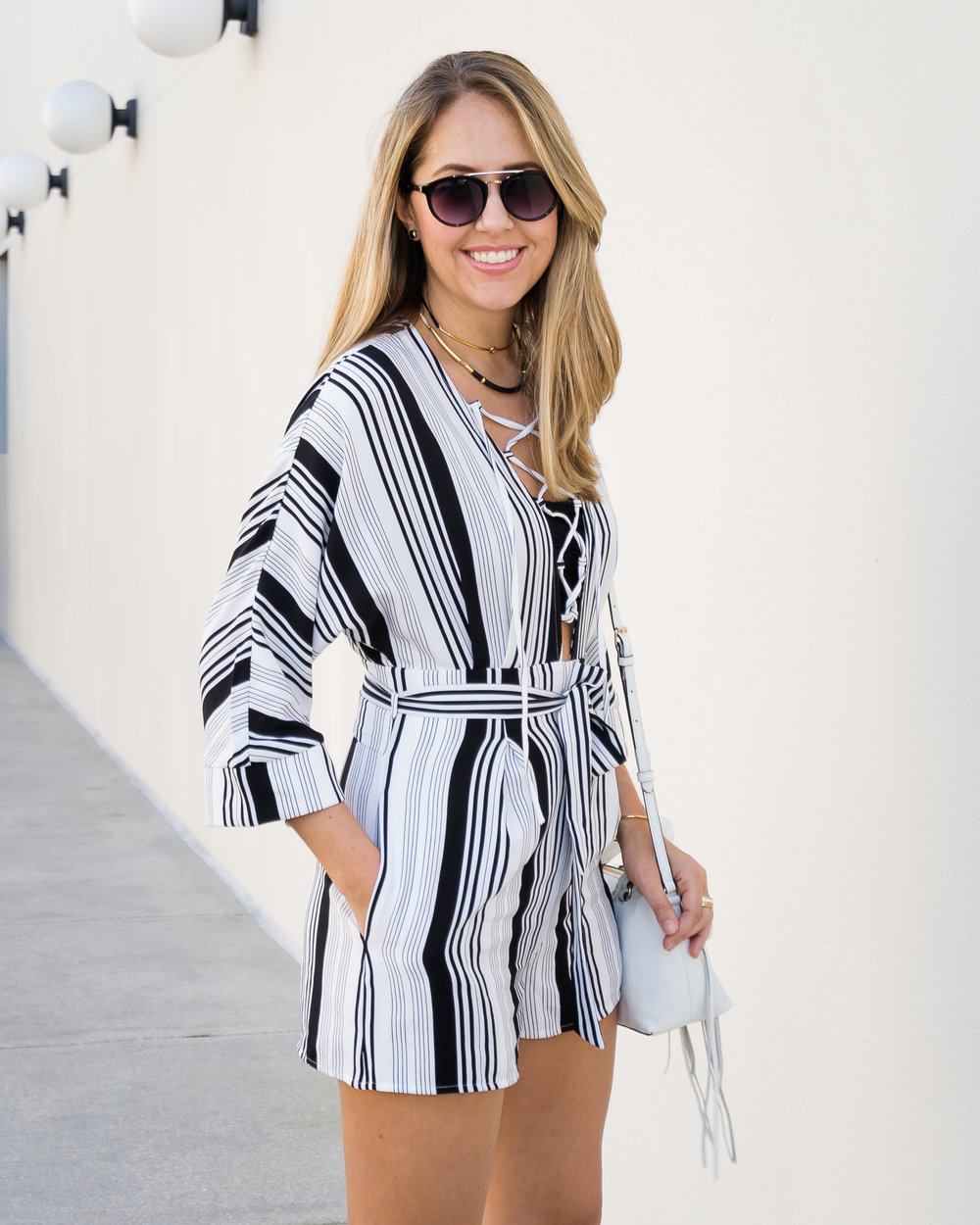 Stripe lace up romper