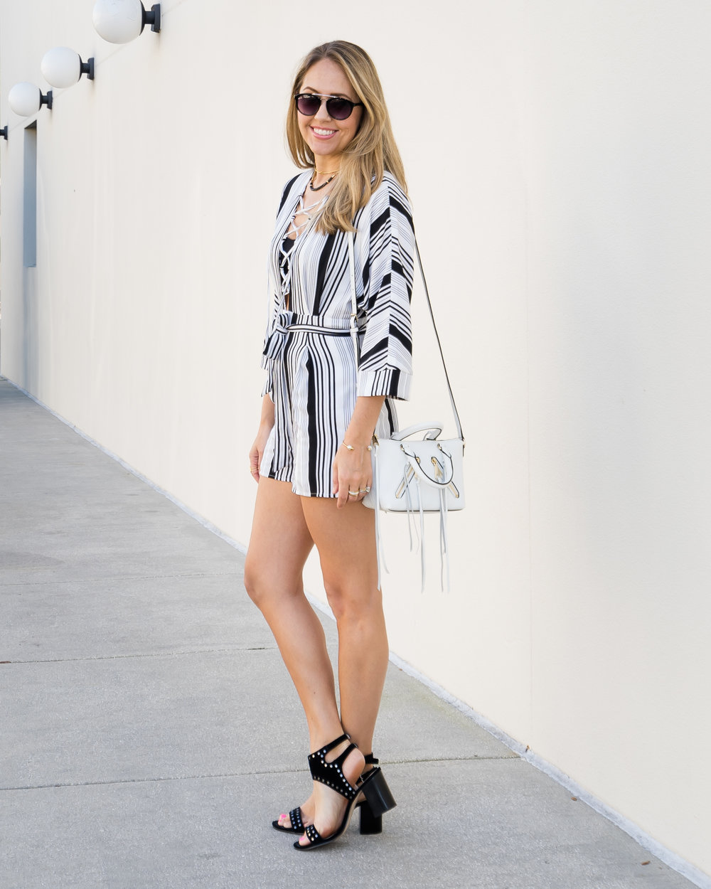 Stripe lace up romper, studded block heels