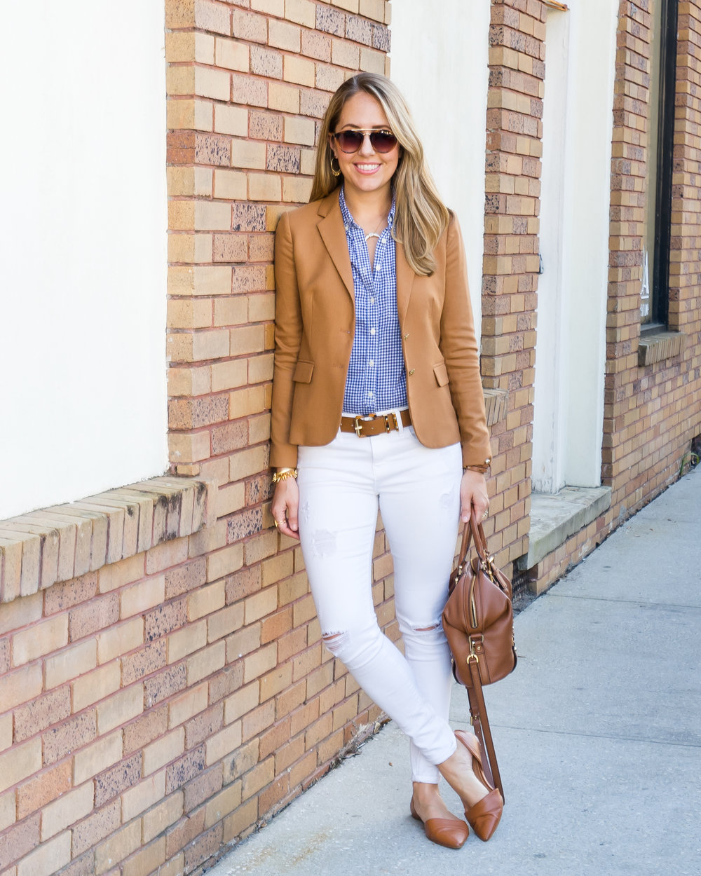 Camel blazer, gingham top, white jeans