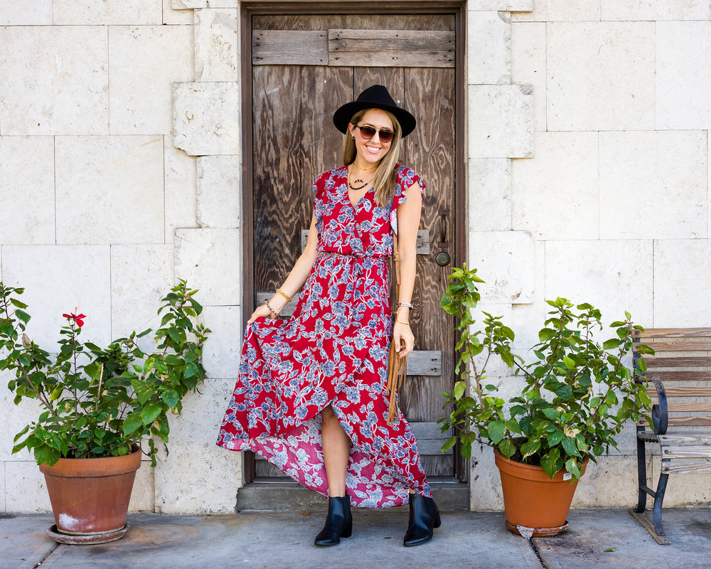 Red floral maxi dress, ankle boots, fringe purse