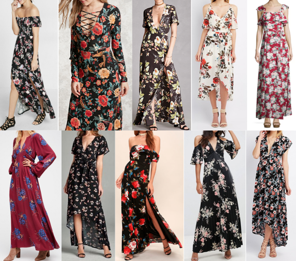 Floral maxi dresses on a budget