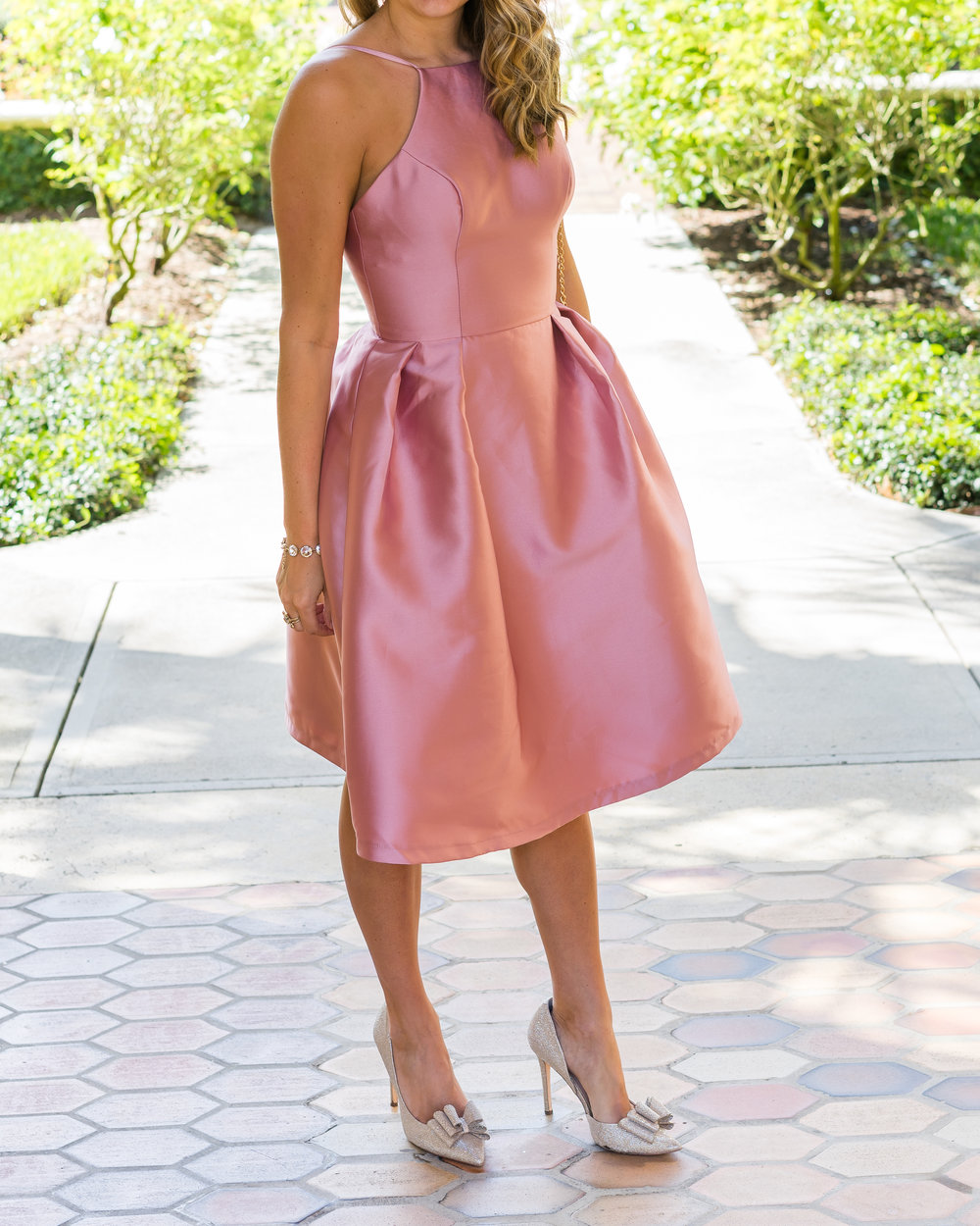 Blush pink party dress by Chi Chi London and bow heels