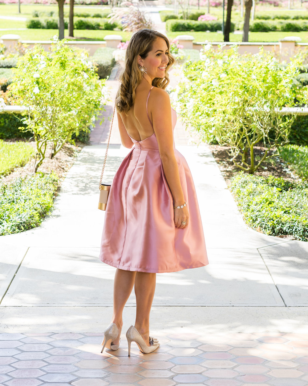 Blush pink party dress by Chi Chi London