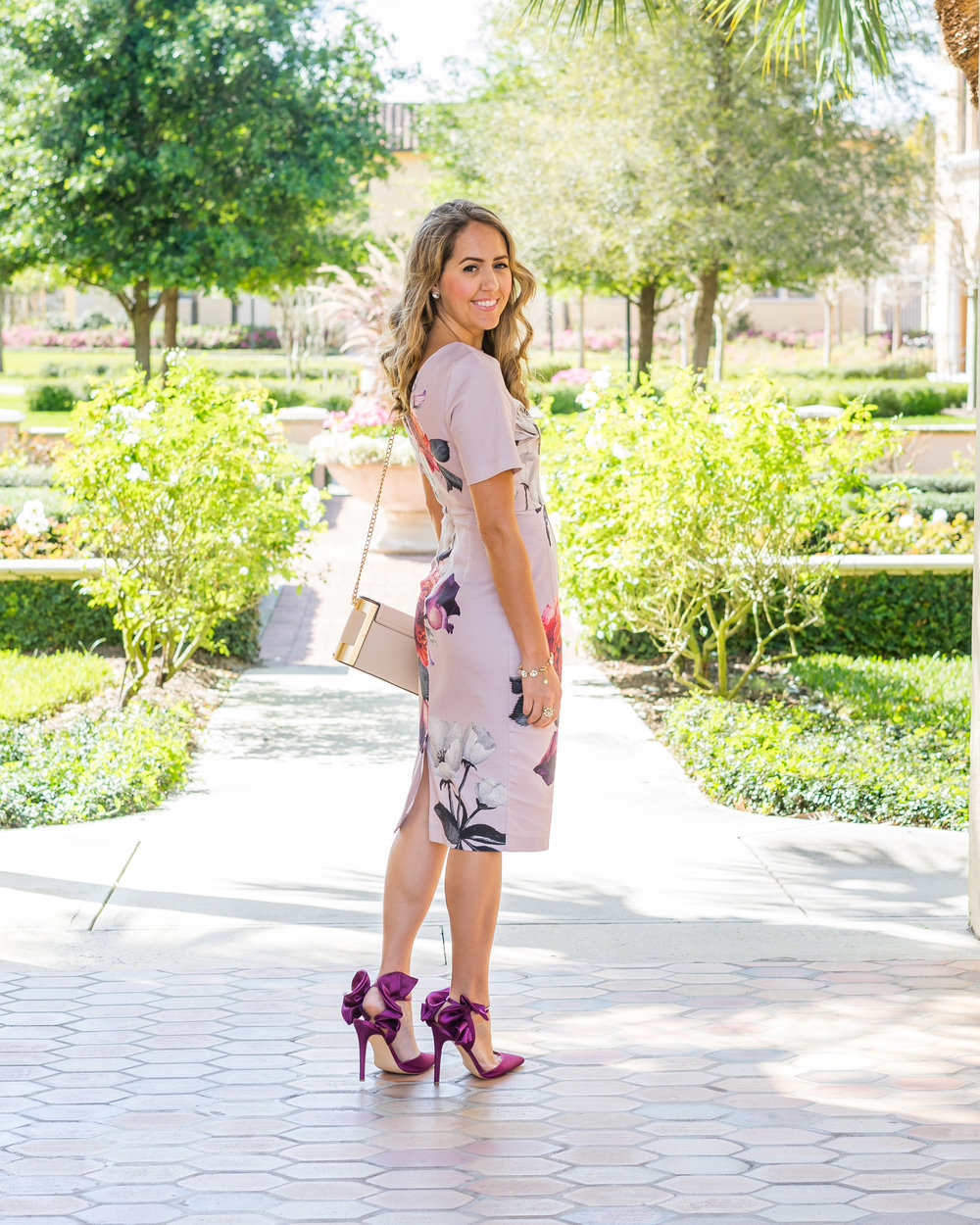 Floral sheath, purple heels