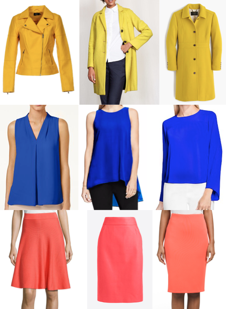 Yellow coat, cobalt top, coral skirt