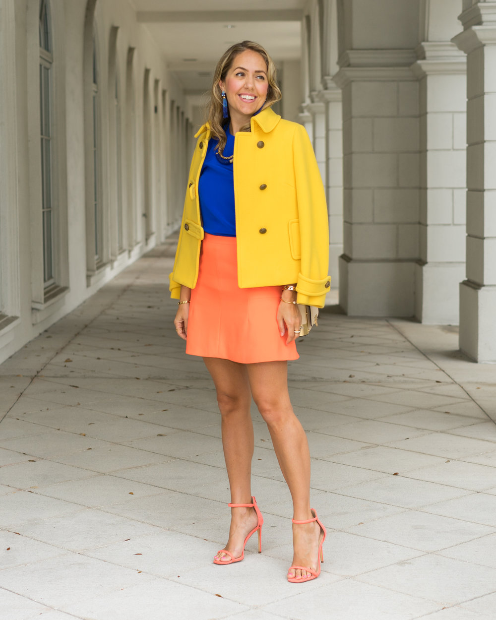Yellow coat, cobalt top, orange skirt