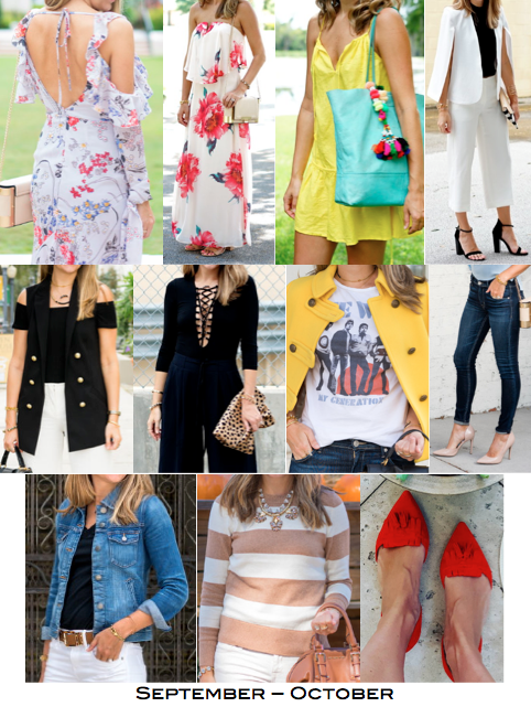 1. Dress, $110 2. Dress, $52 3. Swim coverup, $30 4. Cape blazer, $35 5. Dress pants, $42 6. Vest, $29 7. Bodysuit, $25 8. Tee, $19 9. Jeans, $79 10. Denim jacket, $51 11. Sweater, $34 12. Red flats, $49 Total = $555