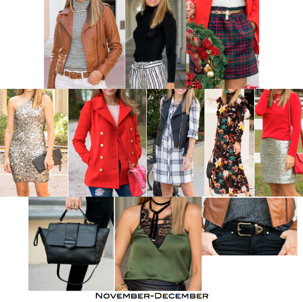 1. Leather jacket, $150 2. Stripe top, $25 3. Turtleneck, $36 4. Plaid skirt, $40 5. Sequin dress, $67 6. Red coat, $58 7. Plaid dress, $40 8. Maxi dress, $20 9. Red sweater, $29 10. Sequin skirt, $38 11. Black purse, $288 12. Lace trim top, $21 13. Black belt, $15 Total = $827