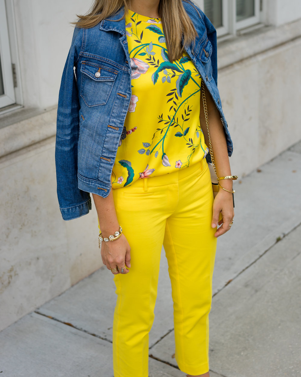 Denim jacket, yellow floral, yellow pants
