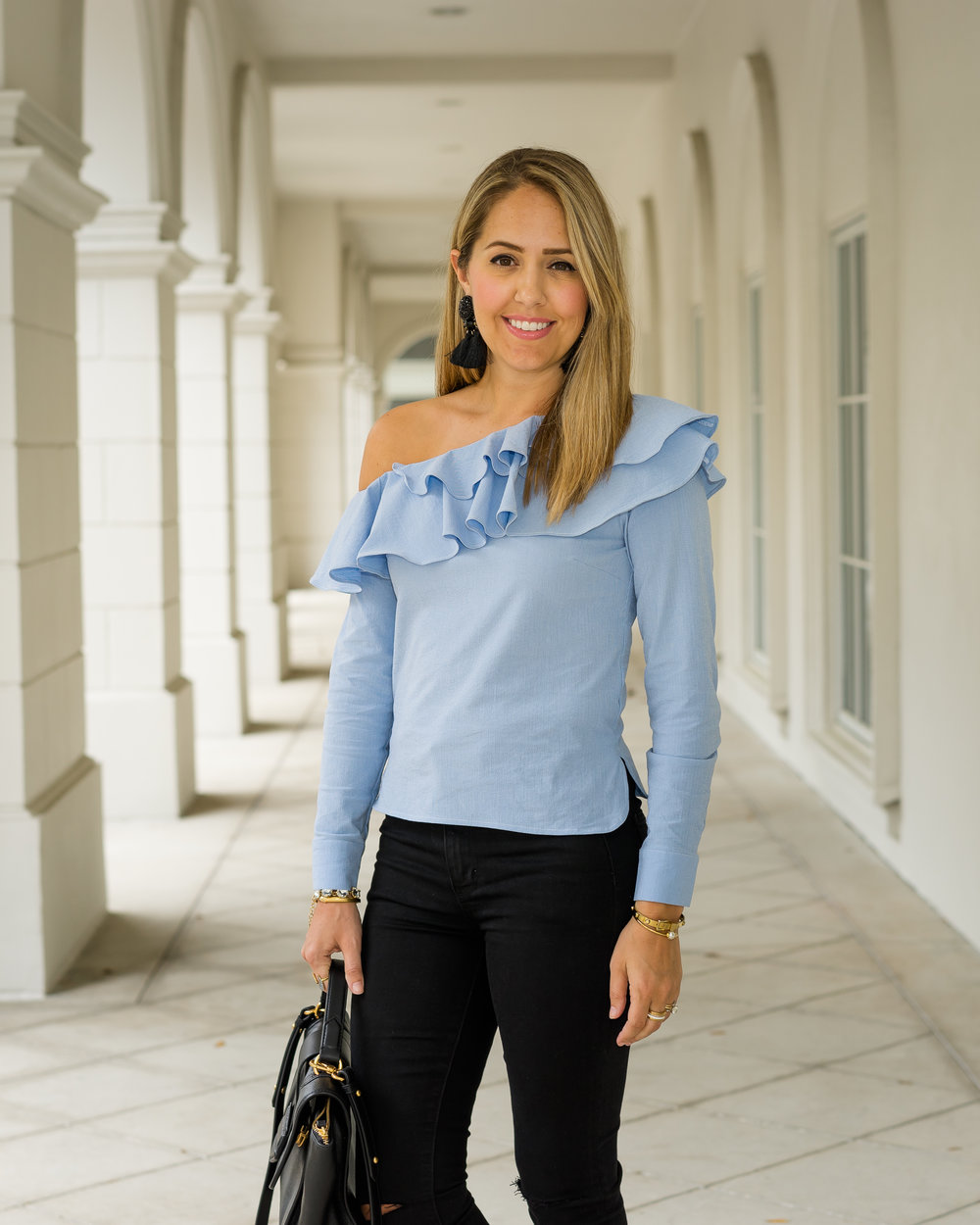 One shoulder blue ruffle top