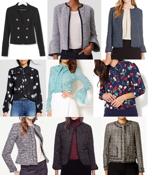 Tweed jackets and bow blouse on a budget