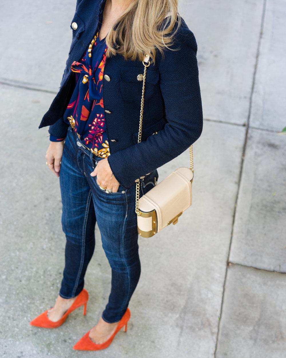 Tweed jacket, bow blouse, dark denim, orange heels