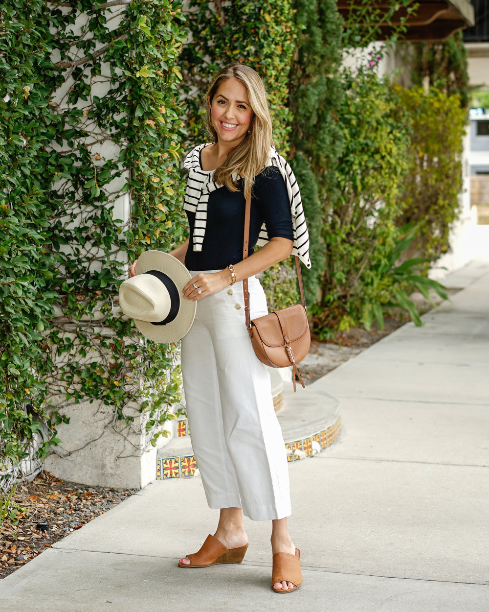Stripe cardigan, navy sweater, sailor pants, Panama hat