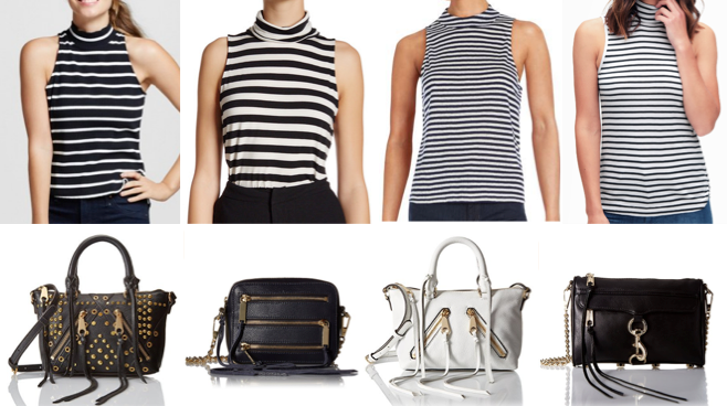 Stripe sleeveless turtlenecks and Rebecca Minkoff bags