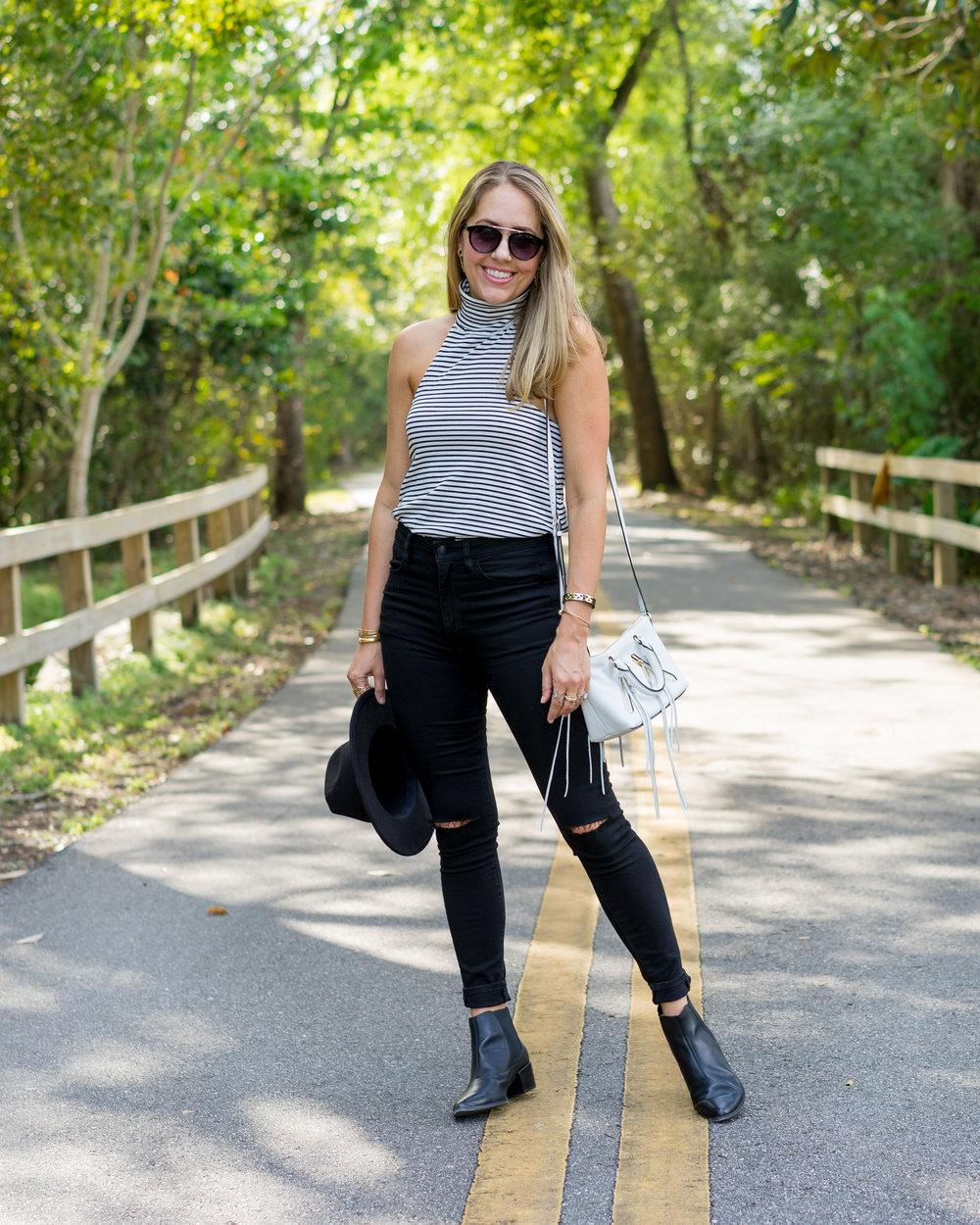 Stripe sleeveless turtleneck, high waist jeans, chelsea boots