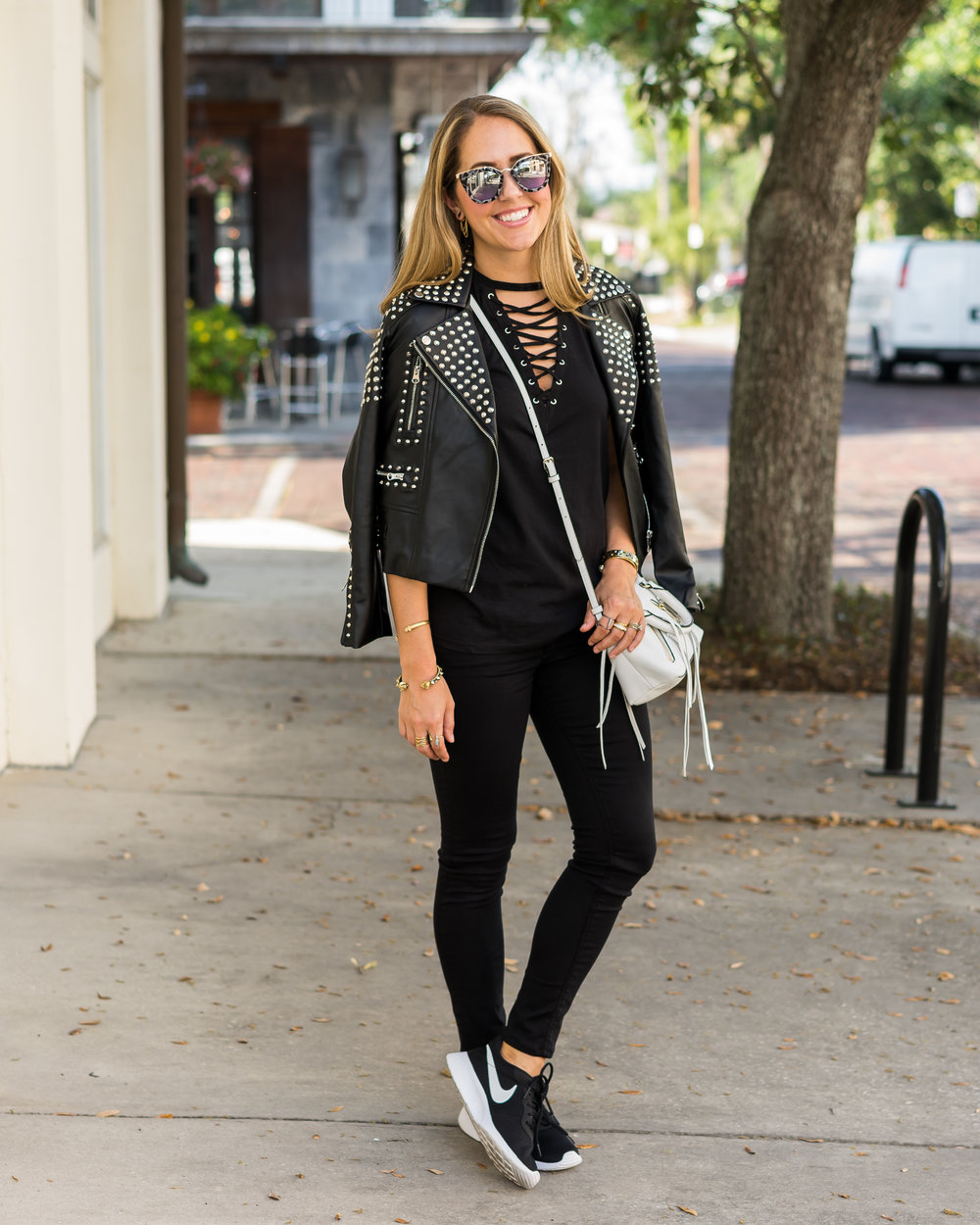 Studded leather jacket, lace up top, Nike Tanjun