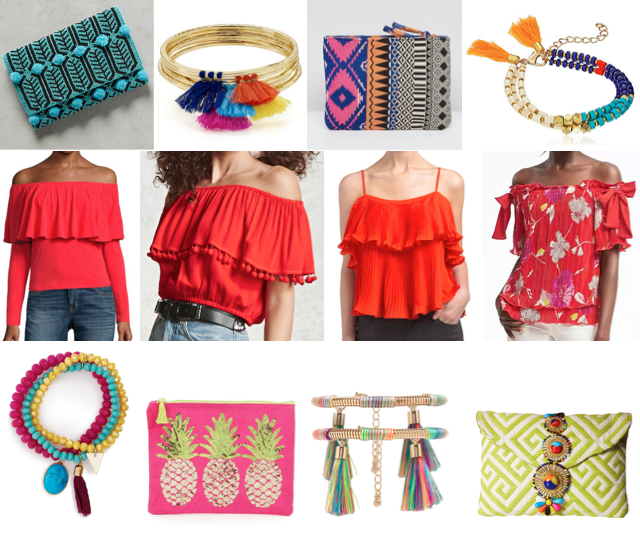 Colorful clutches, off shoulder tops, tassel bracelets